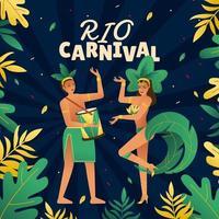 ballerino brasiliano al carnevale di rio de janeiro vettore