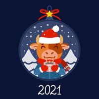 palla di Natale con l'immagine del toro con una tazza di tè. bue in abbigliamento invernale con un cacao in piedi nella neve. biglietto di auguri per il nuovo anno e il natale 2021. illustrazione vettoriale. stile scandinavo. vettore