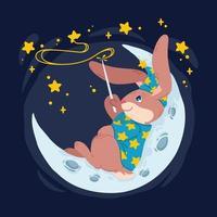 il mago del coniglio con la bacchetta magica fa le stelle nel cielo sdraiato sulla luna. mago coniglietto in cappello da strega si siede sulla mezzaluna. illustrazione di bambini di vettore per libri per bambini, poster di vivaio e vestiti.