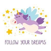 carino unicorno vola nel cielo stellato. segui i tuoi sogni carta, poster, banner, design t-shirt. magico unicorno paffuto viola con criniera viola e stelle cadenti. illustrazione vettoriale. vettore