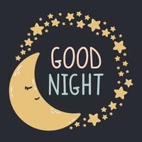 luna addormentata con stelle intorno su uno sfondo scuro. buona notte illustrazione vettoriale. stampa per cameretta, biglietto di auguri, magliette e vestiti per bambini e neonati, abbigliamento da donna. vettore