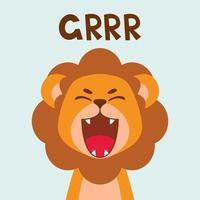 ruggito piatto carino leone bocca aperta. stile scandinavo alla moda. illustrazione di vettore del carattere animale del fumetto isolato su priorità bassa. stampa per abbigliamento per bambini, decorazioni per bambini, poster, avatar divertenti.