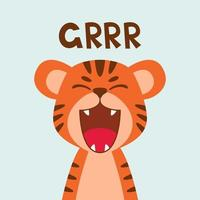 ruggito piatto carino tigre bocca aperta. stile scandinavo alla moda. illustrazione di vettore del carattere animale del fumetto isolato su priorità bassa. stampa per abbigliamento per bambini, decorazioni per bambini, poster, avatar divertenti.