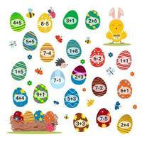 gioco del labirinto per bambini. attività educativa del labirinto di Pasqua di matematica per bambini. vettore