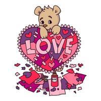 biglietto di auguri di San Valentino con orsacchiotto con cuore scrapbook. Biglietto di auguri 14 febbraio con cuori. illustrazione vettoriale isolato su sfondo bianco. stampa per inviti, cartolina.