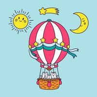 una famiglia di gatti vola in mongolfiera per il mondo. sole, luna, stella cadente, cielo blu. illustrazione di vettore del carattere animale del fumetto isolato su priorità bassa. stampa per biglietto di auguri, abbigliamento per bambini.