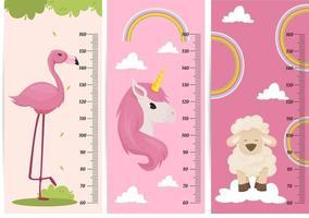 tabella di altezza per bambini con animali. misuratore di altezza del bambino per la scuola materna. vettore