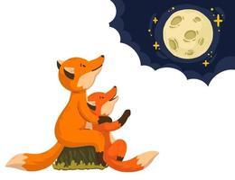 due volpi stanno guardando la luna tra le nuvole. genitore di animali della foresta dei cartoni animati con il bambino. carta per la festa della mamma e per la festa del papà. illustrazione vettoriale isolato su sfondo bianco. arte per libro per bambini.