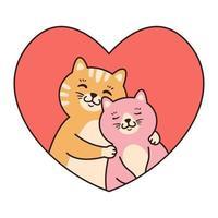 coppia di gatti innamorati abbraccio. biglietti di auguri per San Valentino, compleanno, festa della mamma. illustrazione di vettore del carattere animale del fumetto isolato su priorità bassa bianca. scarabocchiare in stile cartone animato.