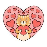 il gatto abbraccia un cuore. biglietti di auguri per San Valentino, compleanno, festa della mamma. illustrazione di vettore del carattere animale del fumetto isolato su priorità bassa bianca. scarabocchiare in stile cartone animato.