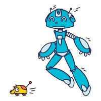 robot blu che gioca a recuperare il ritardo con un giocattolo. illustrazione vettoriale isolato su sfondo bianco.
