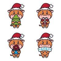 anno del bue. mucche felici insieme. tori carini che tengono un albero di abete rosso, regalo, fiore di stella di Natale, segno. anno nuovo e buon natale card. illustrazione vettoriale. simbolo dello zodiaco cinese dell'anno 2021. vettore