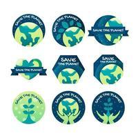 la giornata della terra salva la collezione di etichette del pianeta vettore