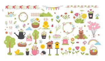 Pasqua primavera insieme con simpatici animali, uccelli, api e farfalle. vettore