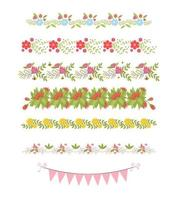 elementi di bordo floreale. fioritura botanica bella cornice primaverile vettore