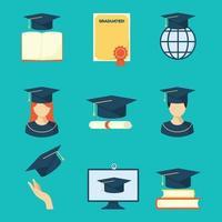 collezione di icone di laurea vettore