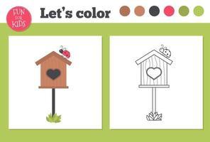 libro da colorare birdhouse per bambini in età prescolare con livello di gioco educativo facile. vettore
