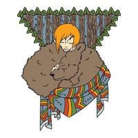 illustrazione etnica, ragazza addormentata e orso. vettore