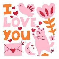 biglietto di auguri di San Valentino romanticismo con il gatto. vettore