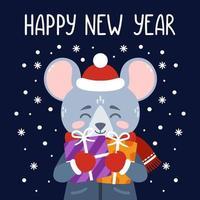 felice anno nuovo stampa vettoriale con ratto carino.
