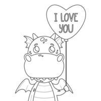 simpatico drago con palloncino a forma di cuore e citazione scritta disegnata a mano - ti amo. biglietto di auguri di San Valentino. illustrazione di contorno vettoriale isolato su sfondo bianco per la pagina da colorare.