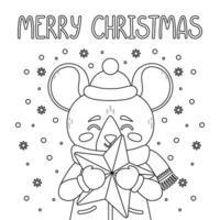 il topo con una stella. buon natale card. vettore