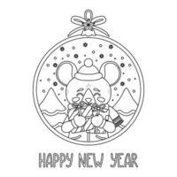 palla di Natale con l'immagine del ratto che tiene i regali. vettore