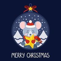 palla di Natale con l'immagine del ratto che tiene una stella gialla vettore