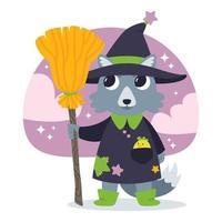 illustrazione vettoriale carino halloween con strega lupo.