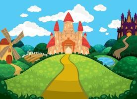 bellissimo sfondo con castelli, laghetto, mulino e campi. vettore