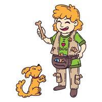 uomo con cane. addestramento del cane. vettore