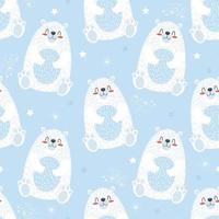 modello carino senza soluzione di continuità con orso polare e fiocchi di neve. illustrazione vettoriale per bambini stampa su imballaggi, tessuto, carta da parati, tessuto