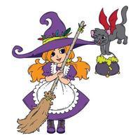 una piccola strega con una scopa, un gatto e una pentola. vettore