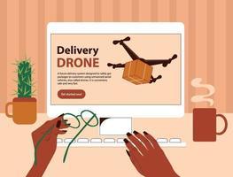 pagina del sito web con informazioni sulla consegna rapida senza contatto dei pacchi via aerea. le mani femminili nere afroamericane scelgono la consegna sicura del drone. visuale in prima persona di una scrivania con un computer. vettore
