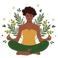 donna afro-americana seduta nella posizione del loto. la ragazza pratica yoga tra le foglie. illustrazione vettoriale piatta