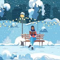 una giovane donna si siede su una panchina in un parco invernale della città e legge un libro. la ragazza sta riposando all'aria aperta. illustrazione vettoriale. vettore