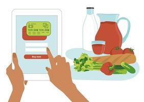 le mani della donna tengono un tablet e pagano online con un pagamento tramite un'applicazione o un sito web. acquista verdura, succhi, pane e latte senza uscire di casa. illustrazione vettoriale