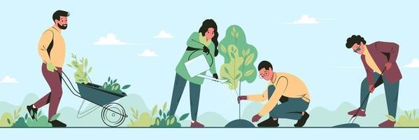 giovani volontari piantano alberi nel parco cittadino in primavera. le persone del gruppo lavorano insieme per migliorare l'ambiente. illustrazione vettoriale piatta