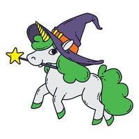 unicorno di Halloween con bacchetta magica, cappello da strega e criniera verde. vettore