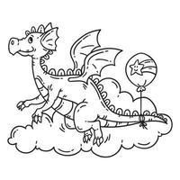 drago volante simpatico cartone animato. vettore