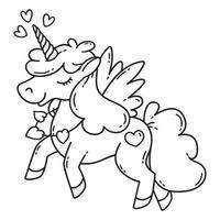unicorno con ali e cuore. vettore