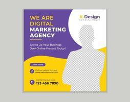 modello di post sui social media per la promozione dell'agenzia di marketing aziendale digitale vettore