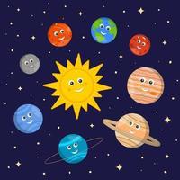 sistema solare per bambini. simpatici personaggi del sole e dei pianeti in stile cartone animato su sfondo scuro dello spazio. illustrazione vettoriale per la scuola materna e l'educazione scientifica scolastica
