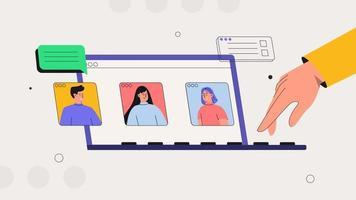 discussione in linea e concetto di videoconferenza aziendale. streaming, chat web, incontri online con amici. persone sullo schermo del laptop tenendo con il collega. vettore