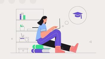 studenti che imparano online a casa. giovane donna si siede su una pila di libri e studi in linea su un laptop. illustrazione vettoriale stile piatto. il concetto di apprendimento a distanza.