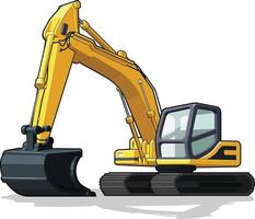 escavatore costruzione macchina movimento terra scavatrice macchina pesante cartone animato vettore