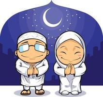 uomo musulmano donna islamica saluto ramadan mediorientale cartone animato vettore