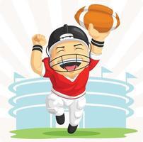 felice atleta giocatore di football americano sportivo fumetto illustrazione vettore
