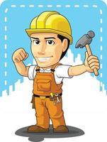 mascotte del fumetto del costruttore del tuttofare di operaio edile industriale vettore