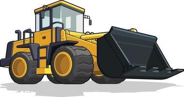 bulldozer costruzione industria delle macchine pesanti fumetto illustrazione vettore